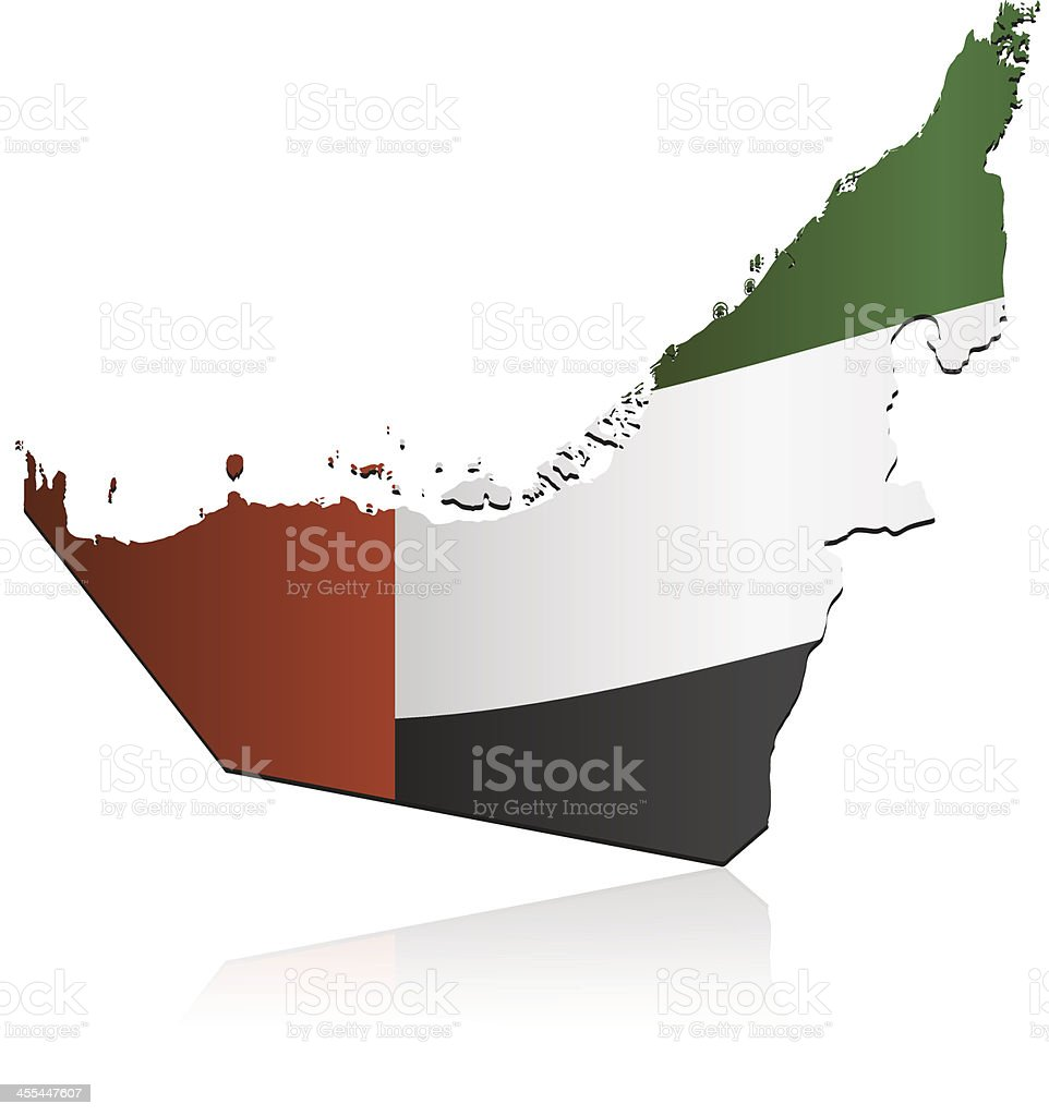 United Arab Emirates flag map royalty-free stock vector art