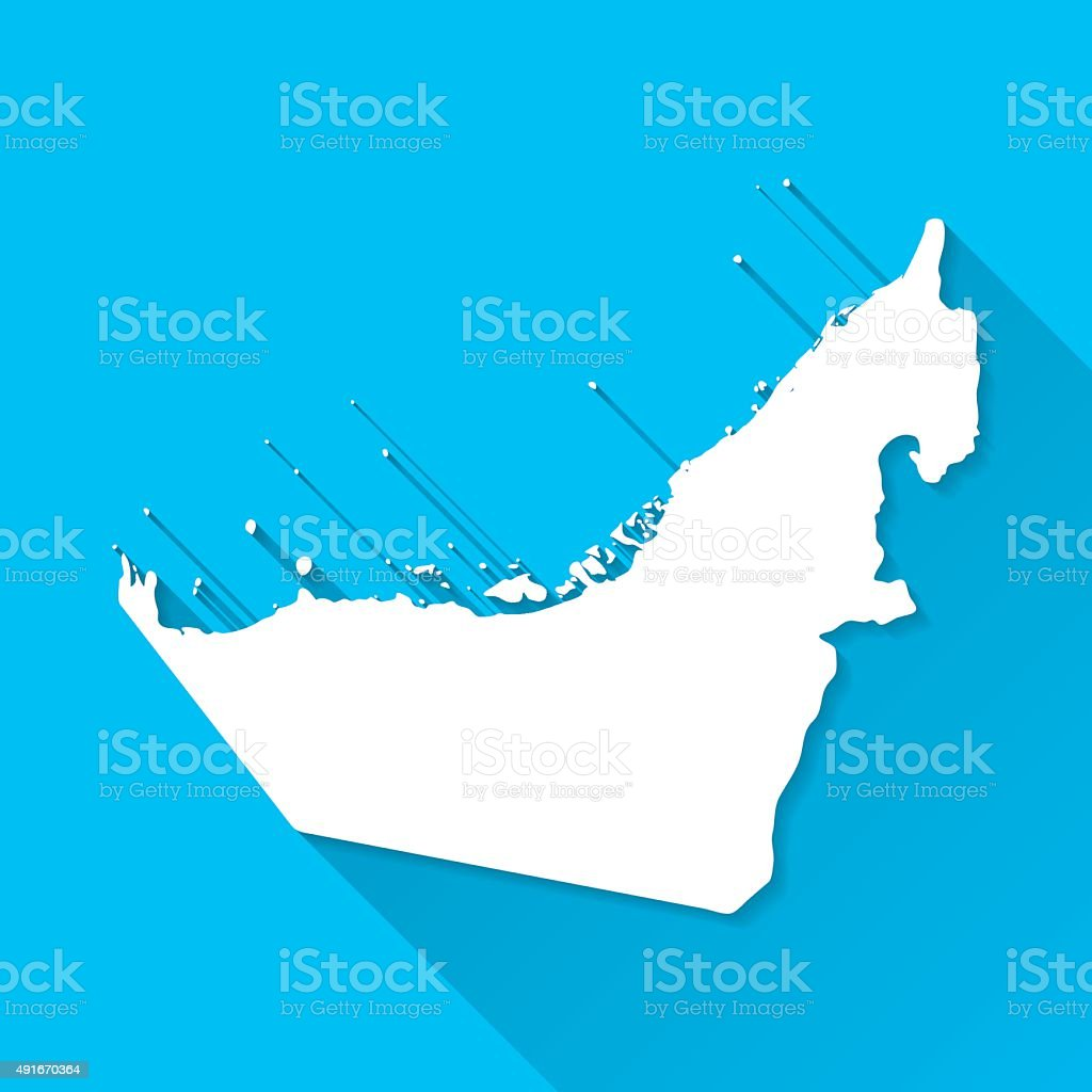 United Arab Emirates Map, Blue Background, Long Shadow, Flat Design vector art illustration