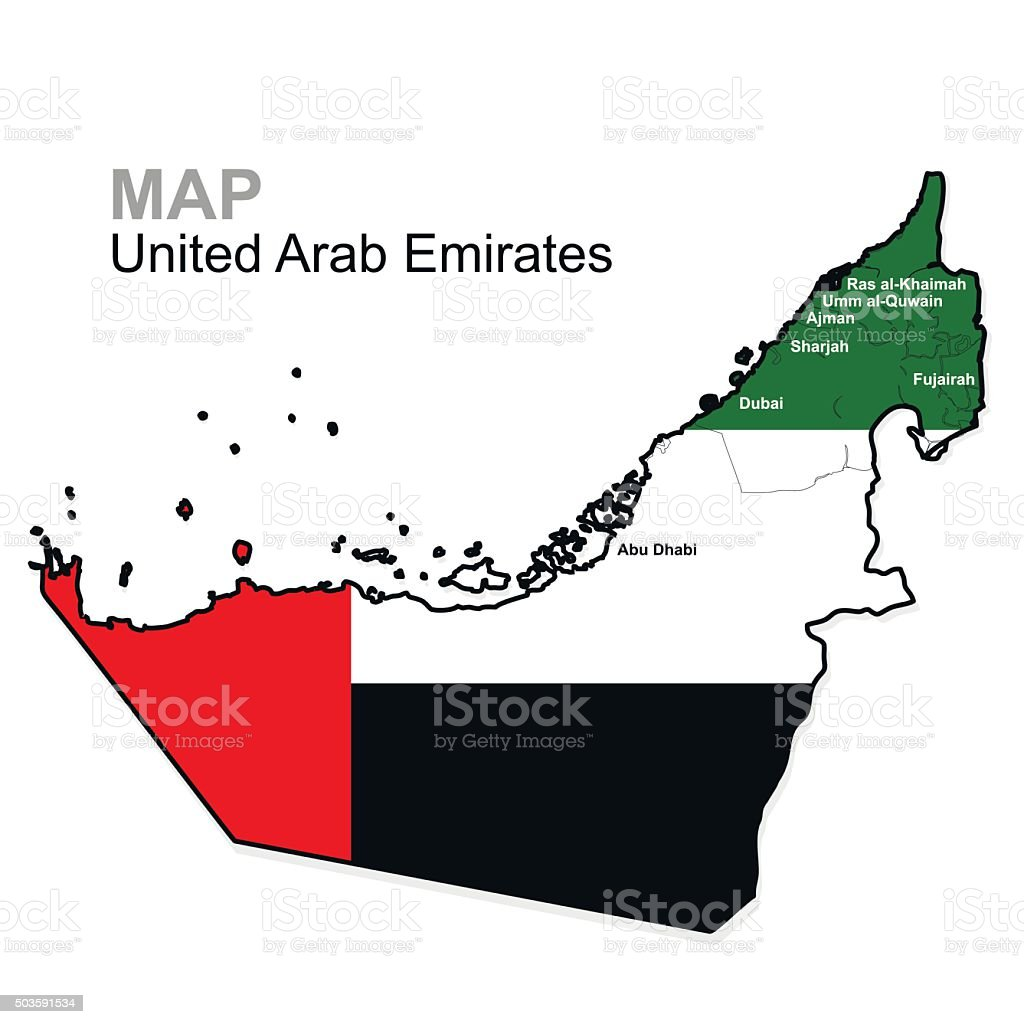 United Arab Emirates Map divided by region. Administrative division vector art illustration