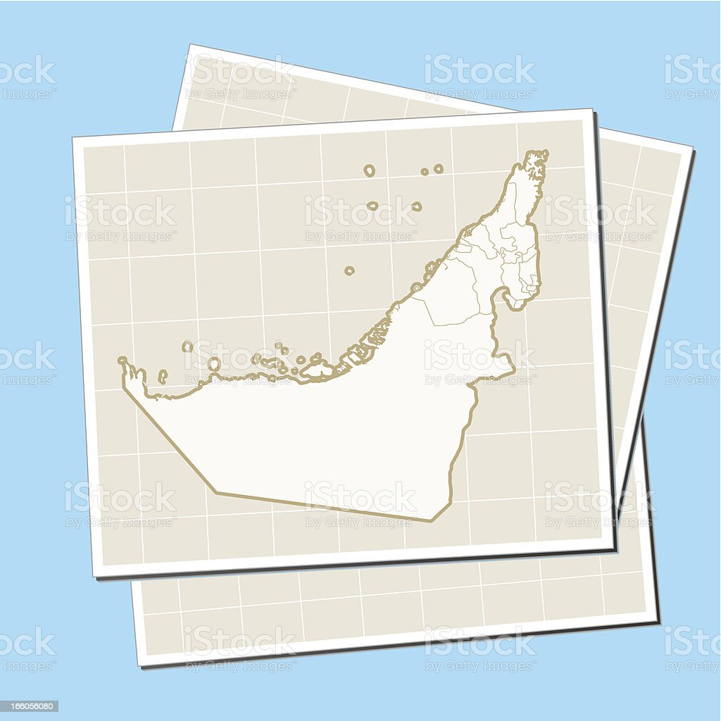 United Arab Emirates map on paper royalty-free stock vector art