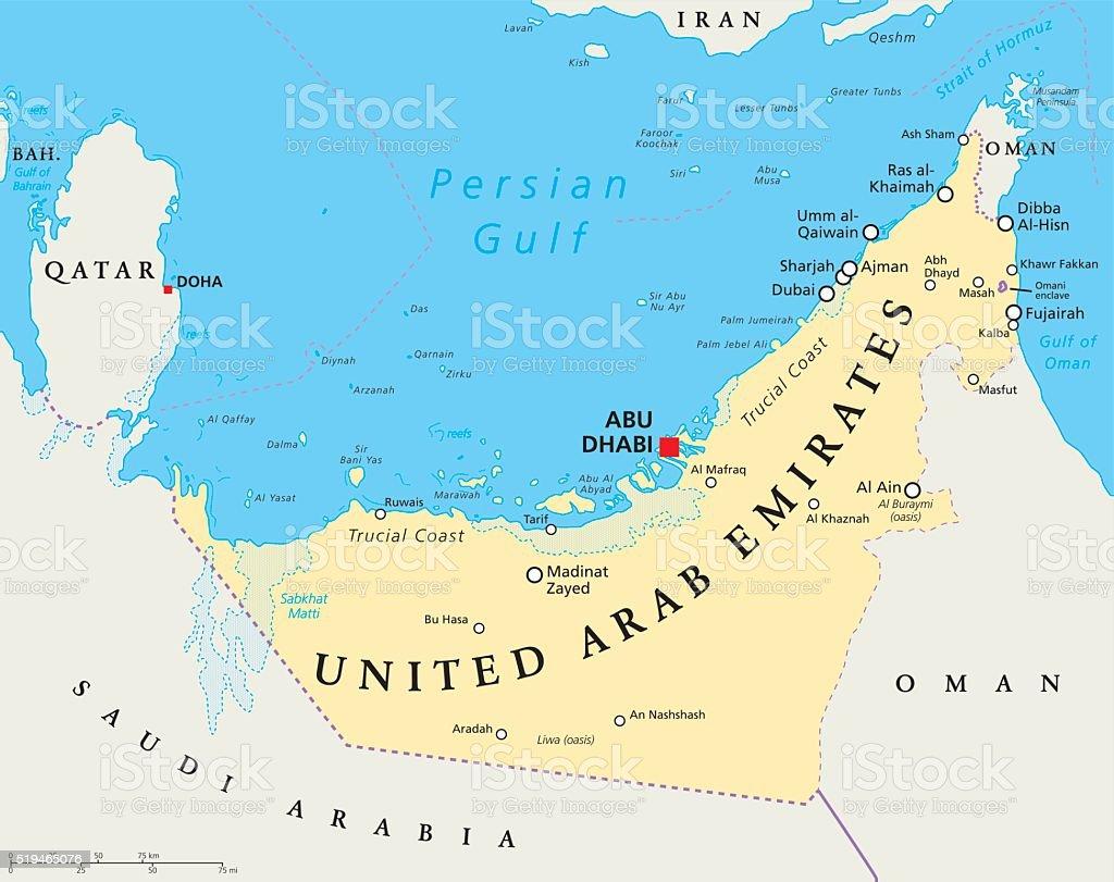 UAE United Arab Emirates Political Map vector art illustration