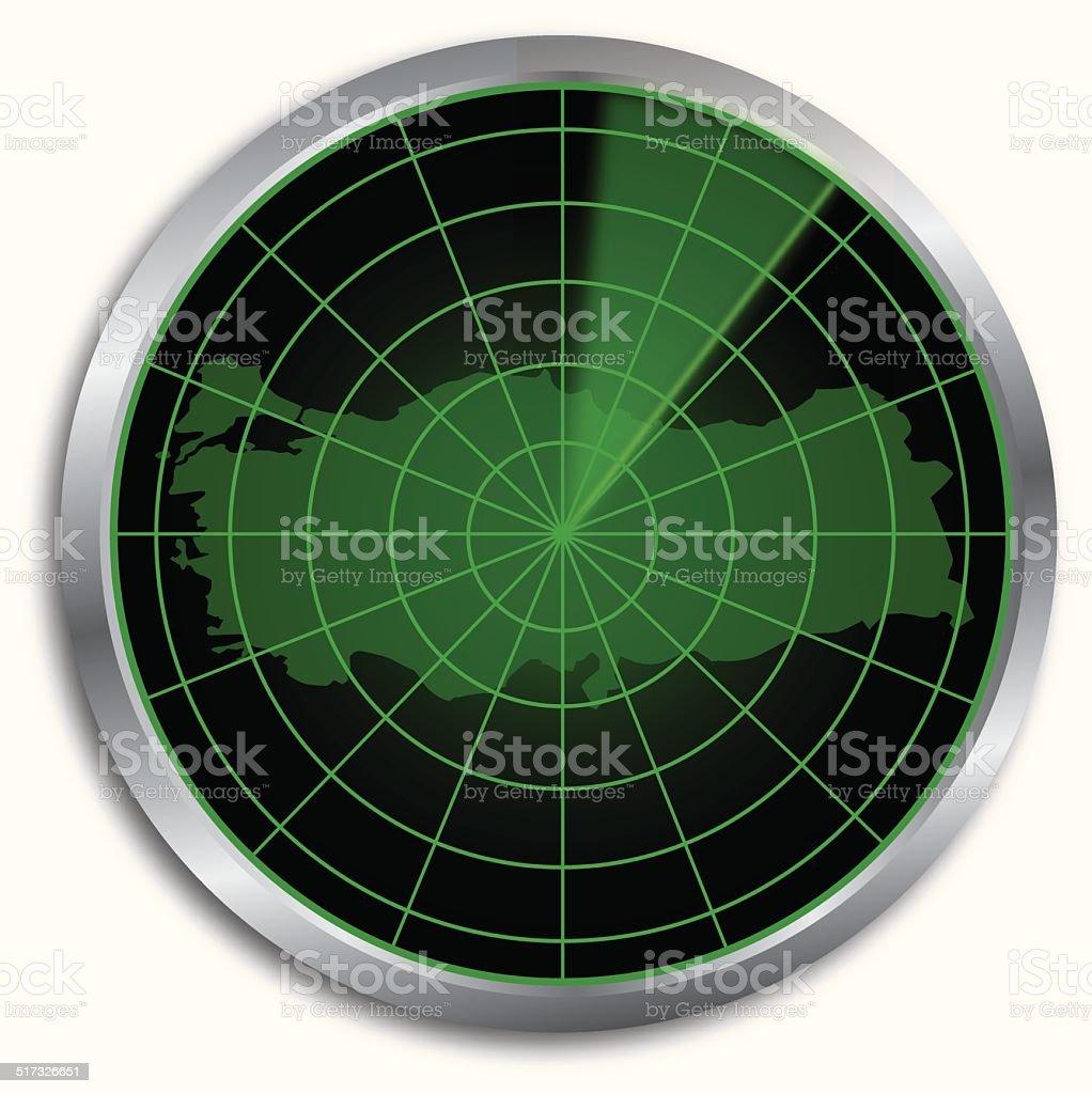 United Arab Emirates radar Map vector art illustration