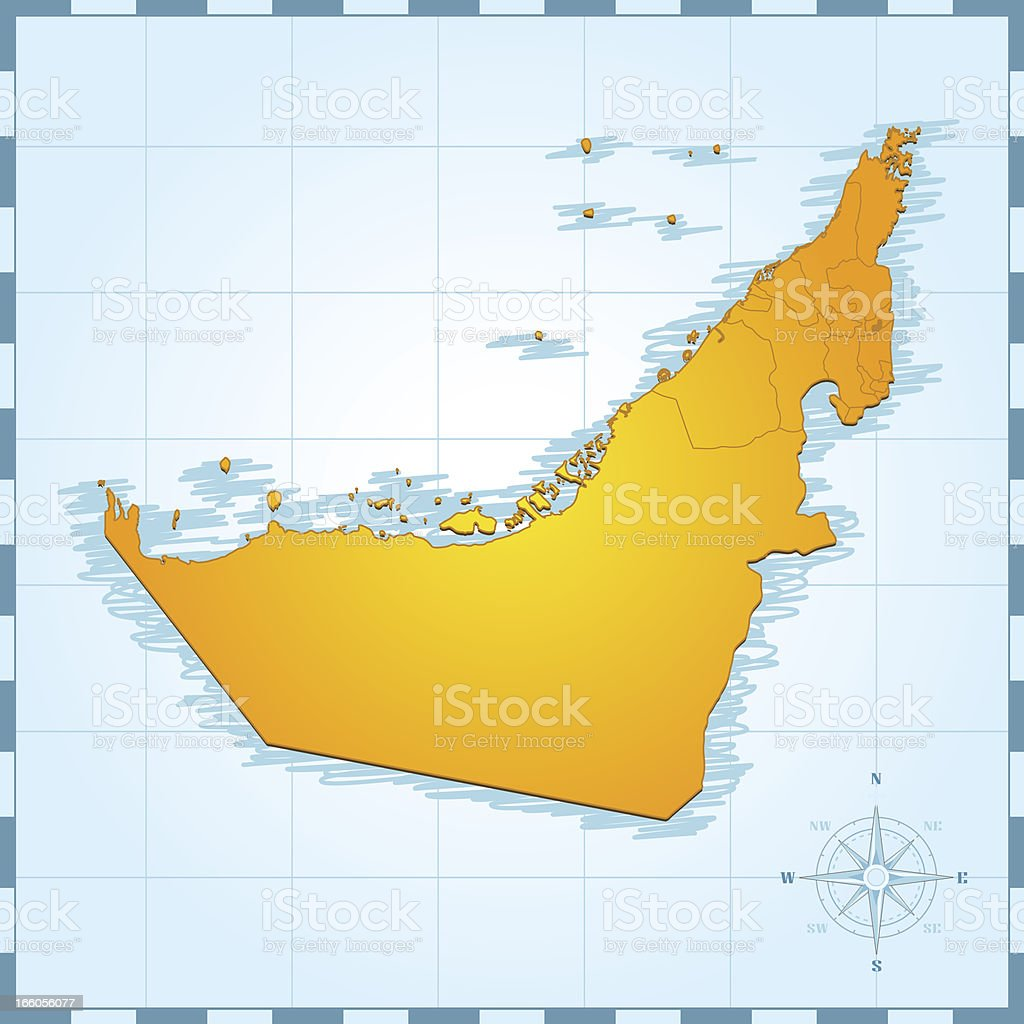 United Arab Emirates retro map royalty-free stock vector art