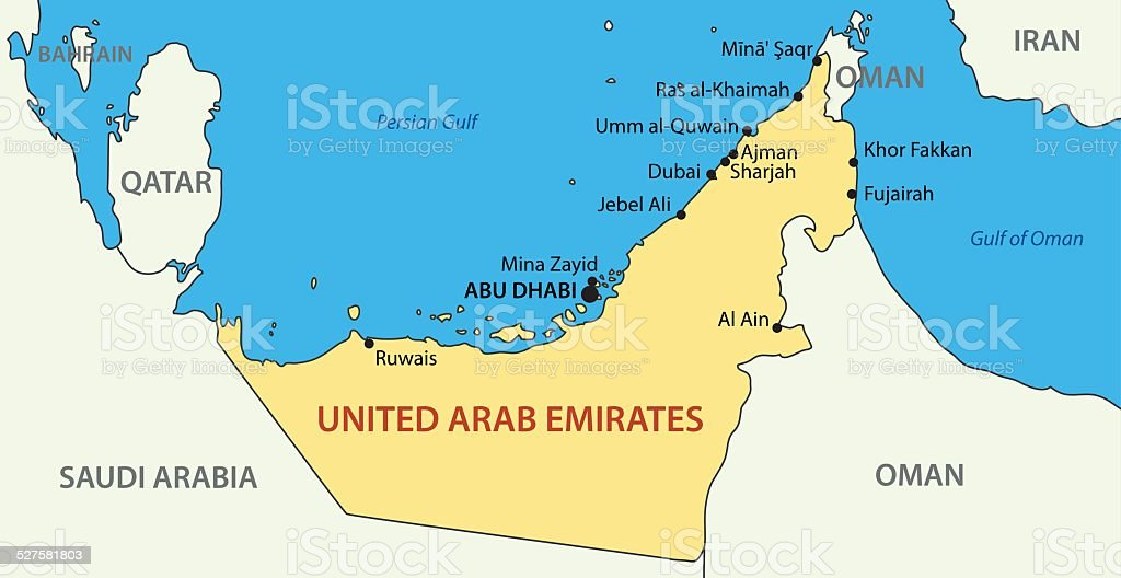 United Arab Emirates - vector map vector art illustration