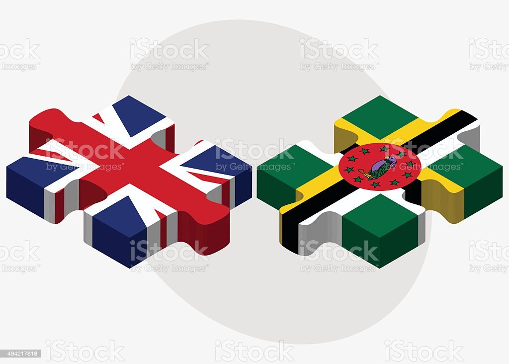 United Kingdom and Dominica Flags vector art illustration