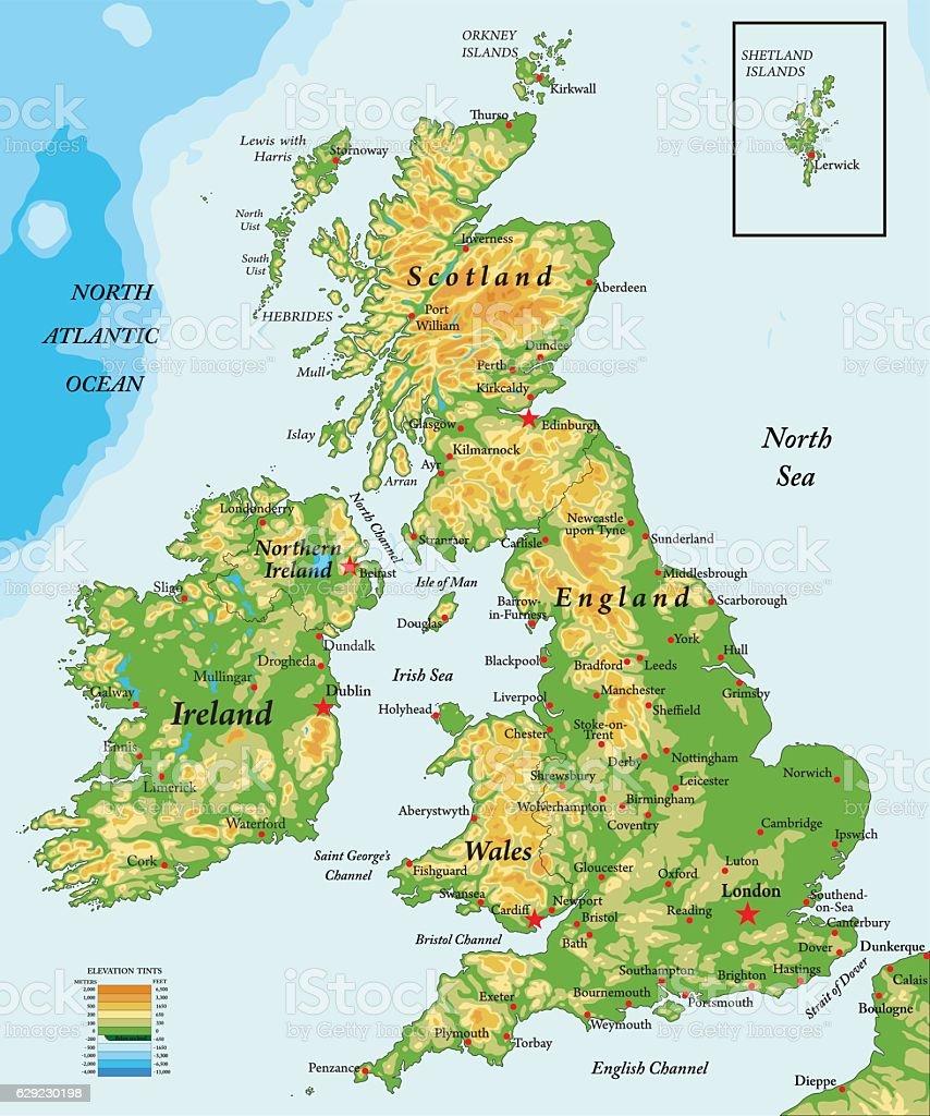 United Kingdom and Ireland-physical map vector art illustration