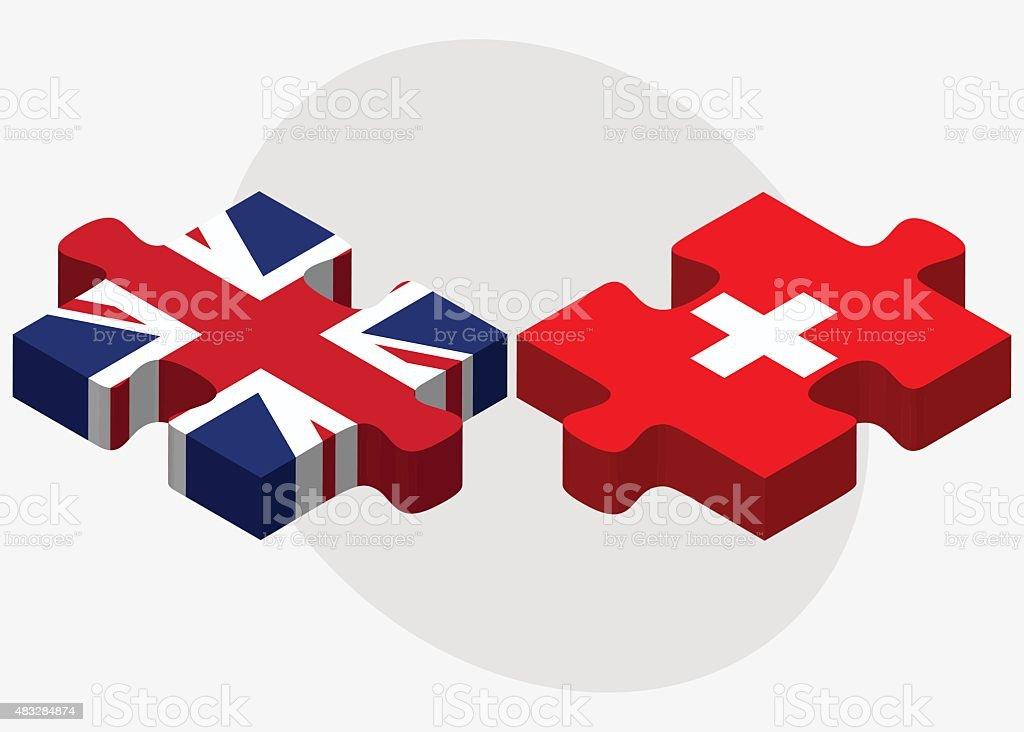 United Kingdom and Switzerland Flags vector art illustration