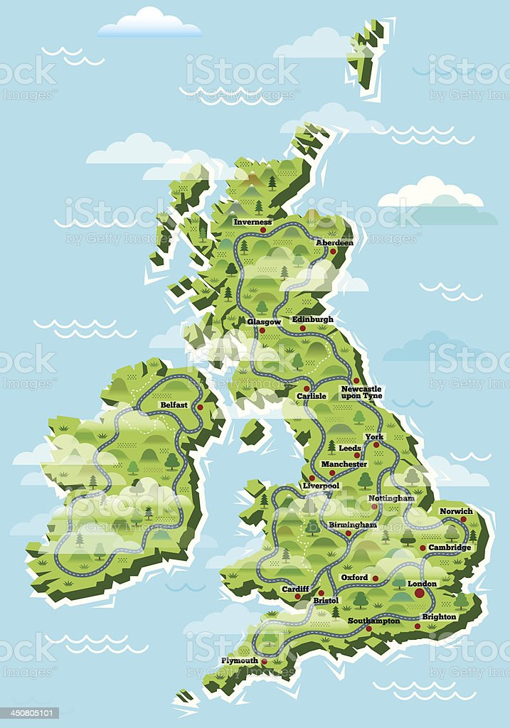 United Kingdom cities map vector art illustration
