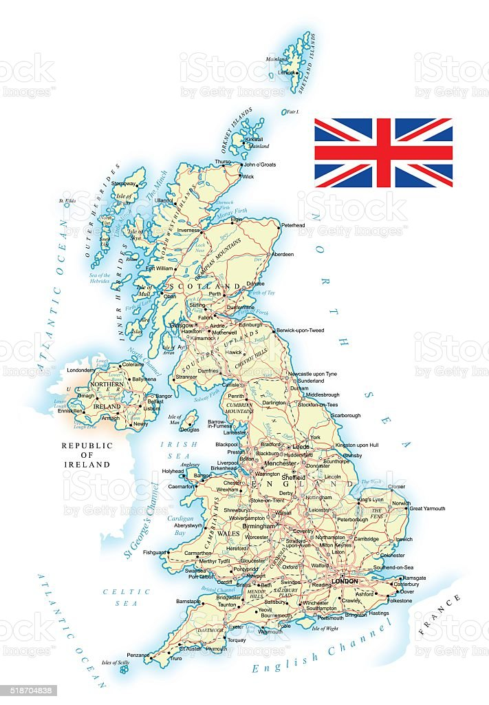 United Kingdom - detailed map - illustration vector art illustration