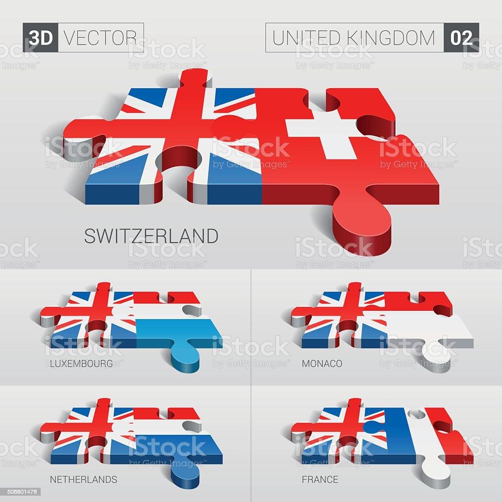 United Kingdom Flag. 3d vector puzzle. Set 02. vector art illustration