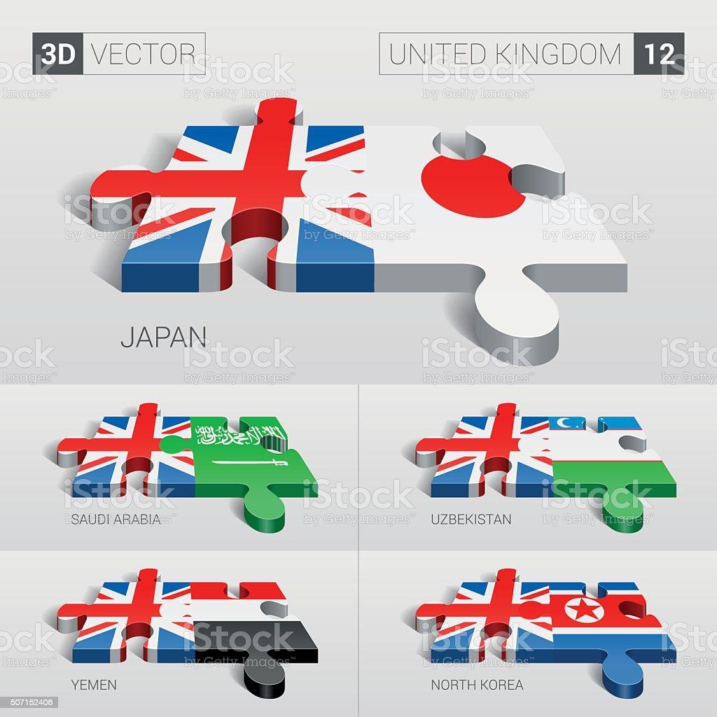 United Kingdom Flag. 3d vector puzzle. Set 12. vector art illustration