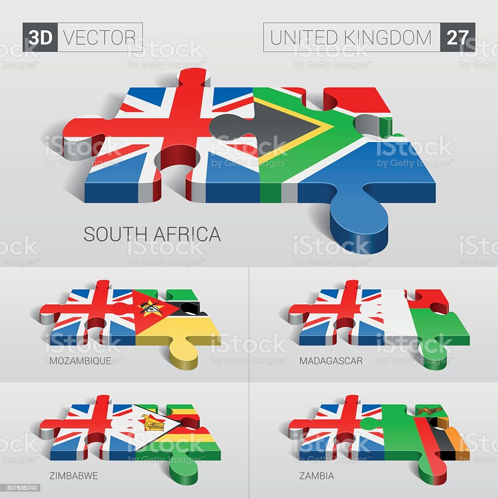 United Kingdom Flag. 3d vector puzzle. Set 27. vector art illustration