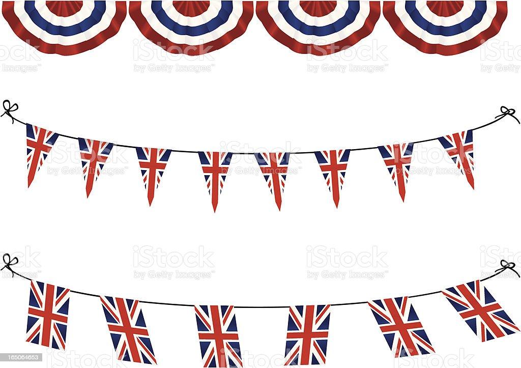 United Kingdom Flag Bunting vector art illustration