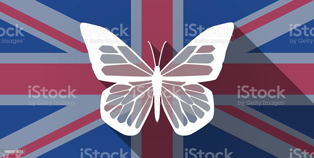 United Kingdom flag icon with a butterfly vector art illustration