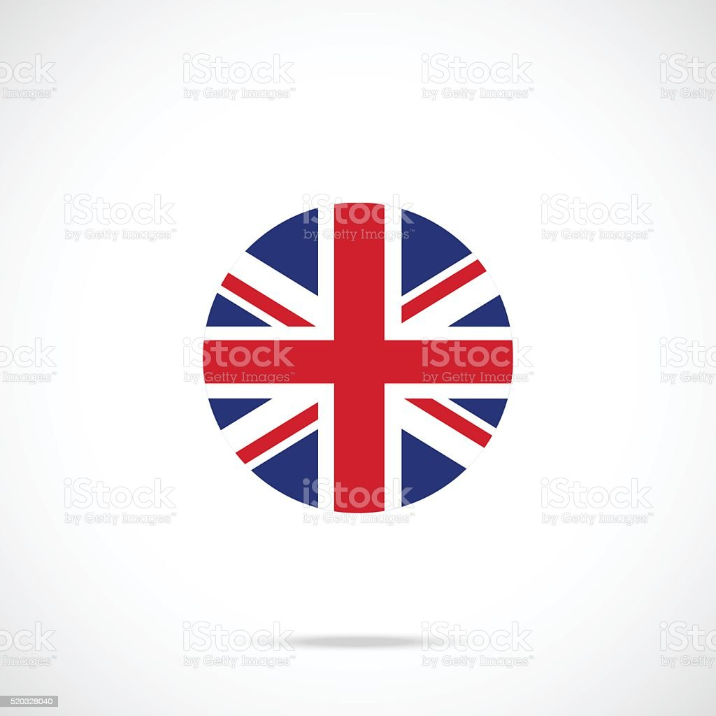 United Kingdom flag round icon. UK flag icon official color vector art illustration
