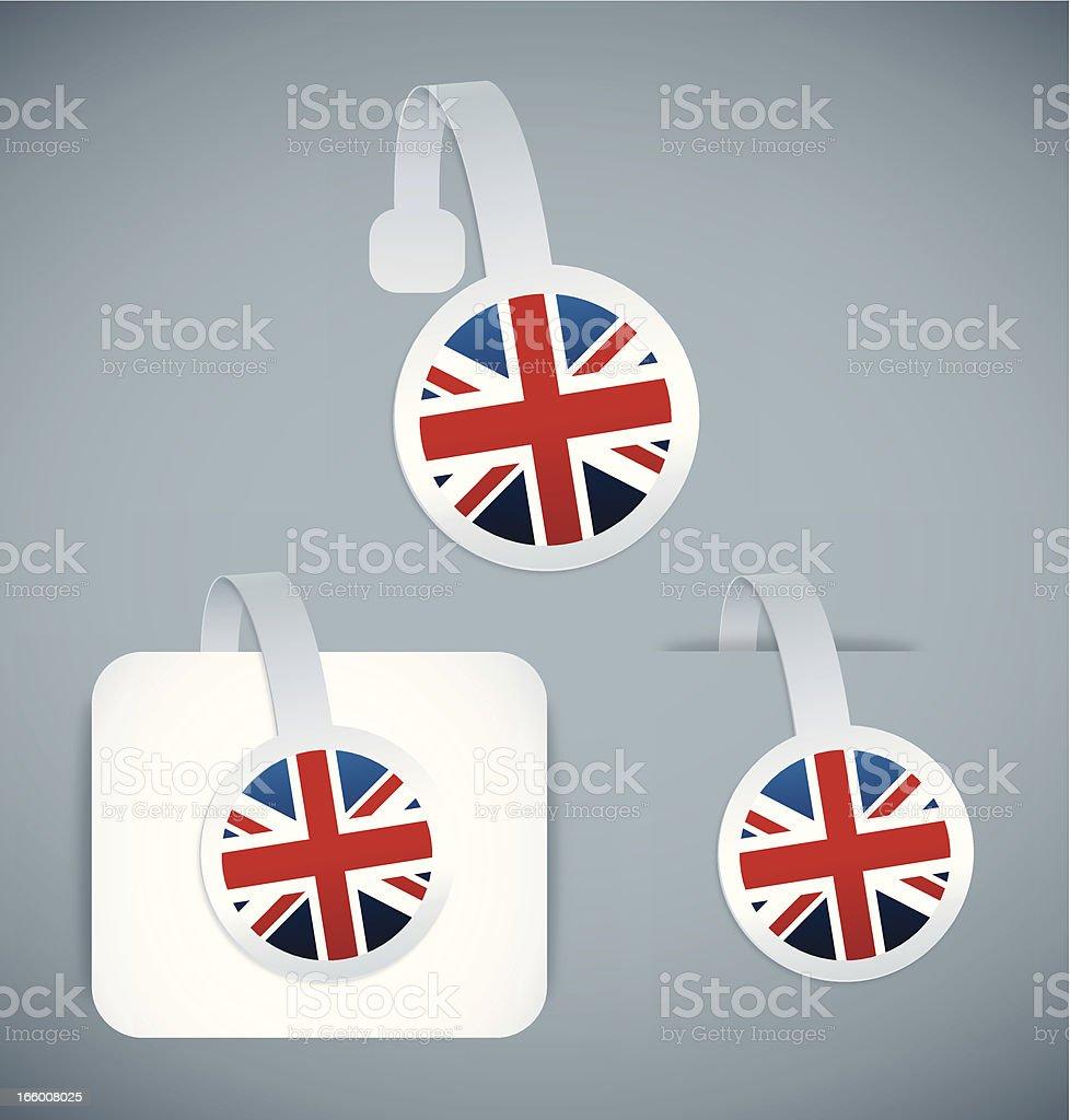 United Kingdom flag stickers royalty-free stock vector art