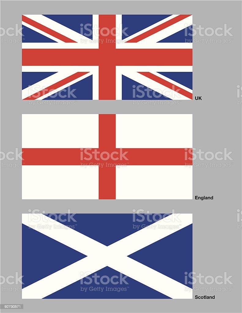 United Kingdom Flags vector art illustration
