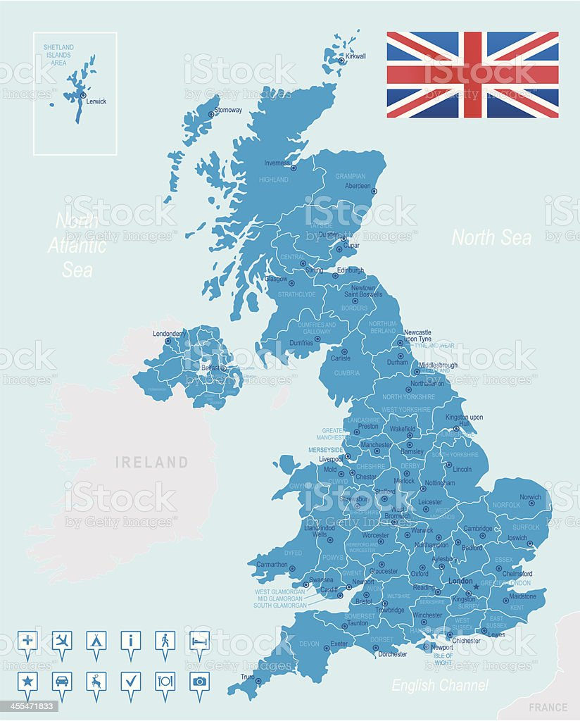 United Kingdom - highly detailed map royalty-free stock vector art
