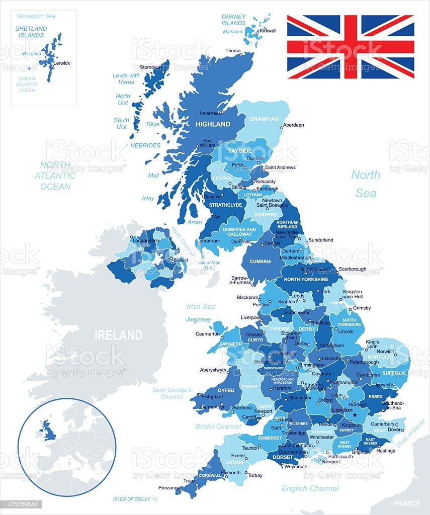 United Kingdom - map and flag - illustration vector art illustration