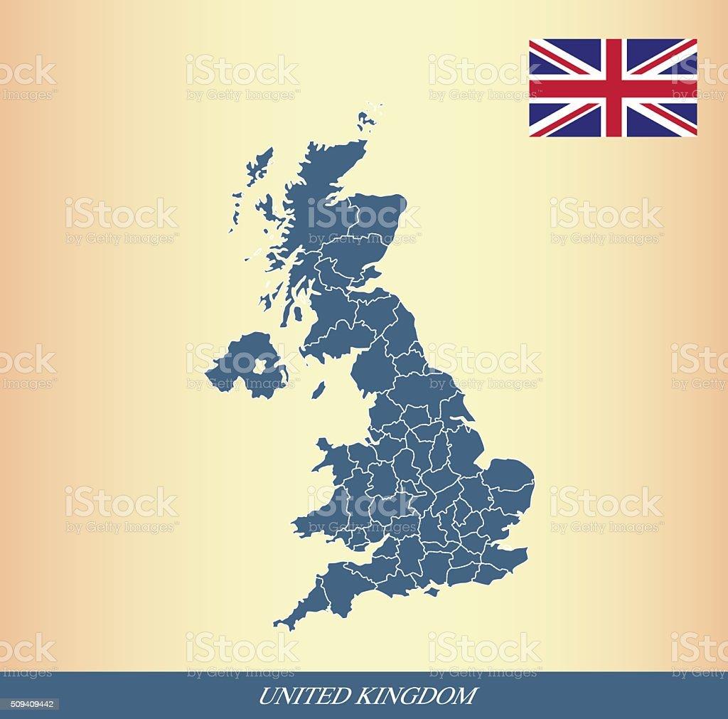 United Kingdom map and flag outline vector vector art illustration