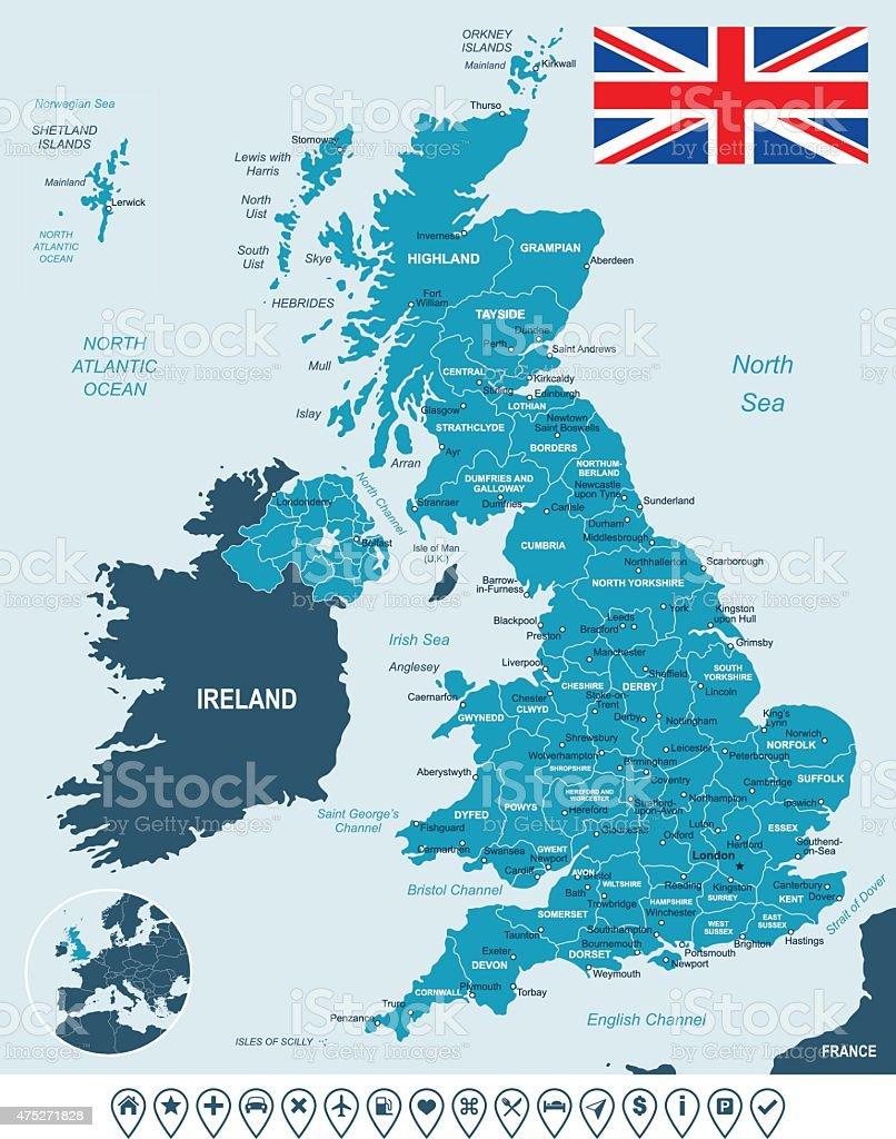 United Kingdom map, flag and navigation labels - illustration vector art illustration
