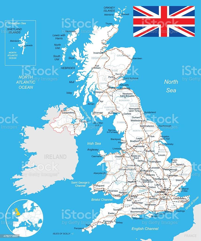 United Kingdom map, flag, roads - illustration vector art illustration
