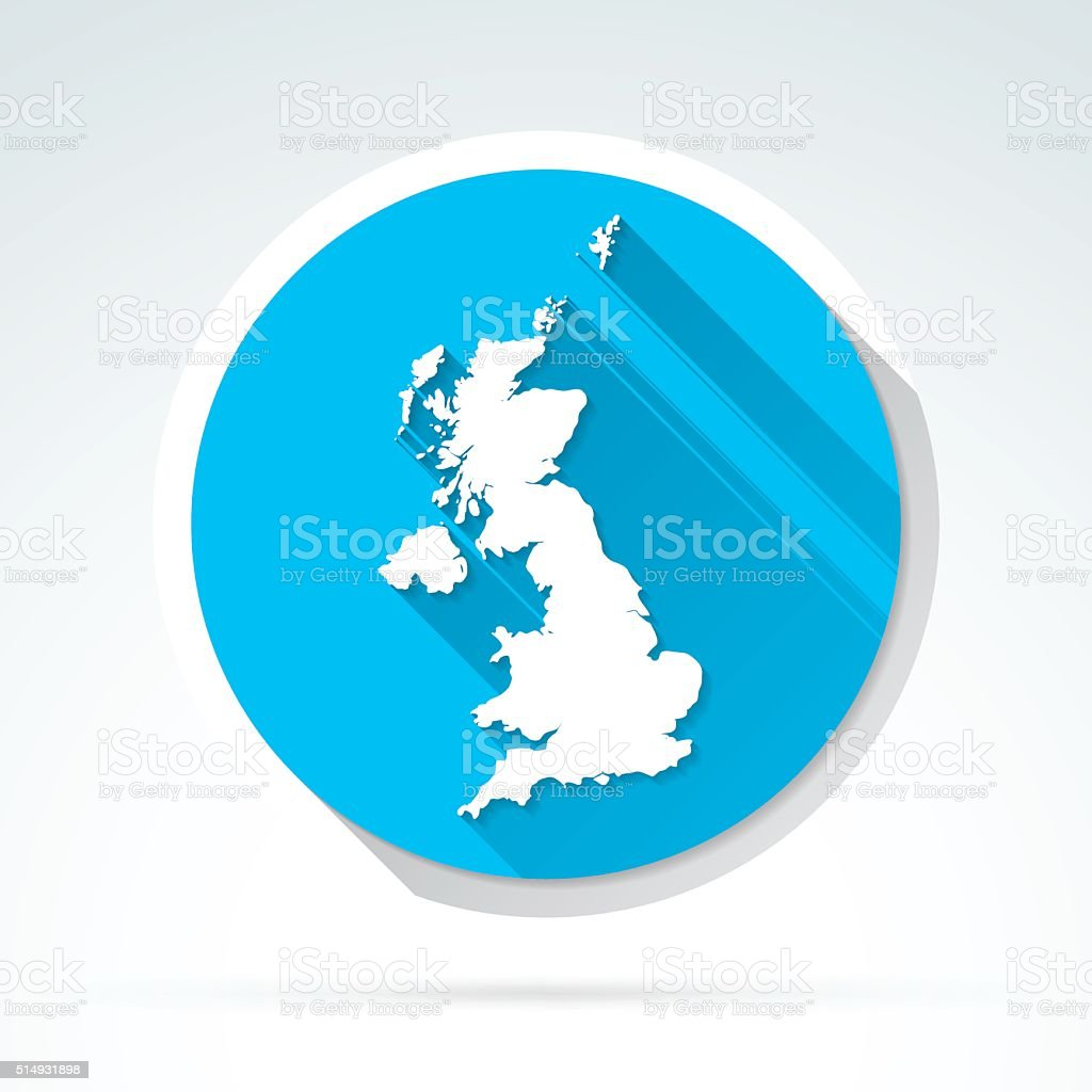 United Kingdom map icon, Flat Design, Long Shadow vector art illustration