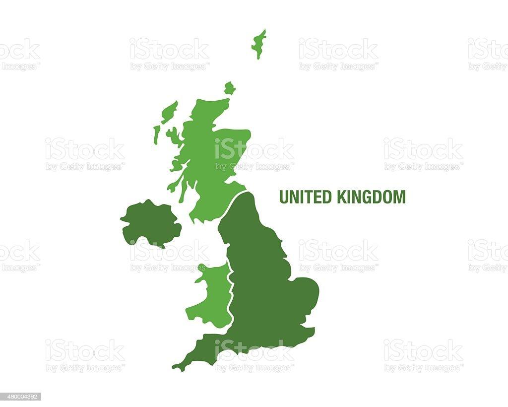 United Kingdom map in green color vector art illustration