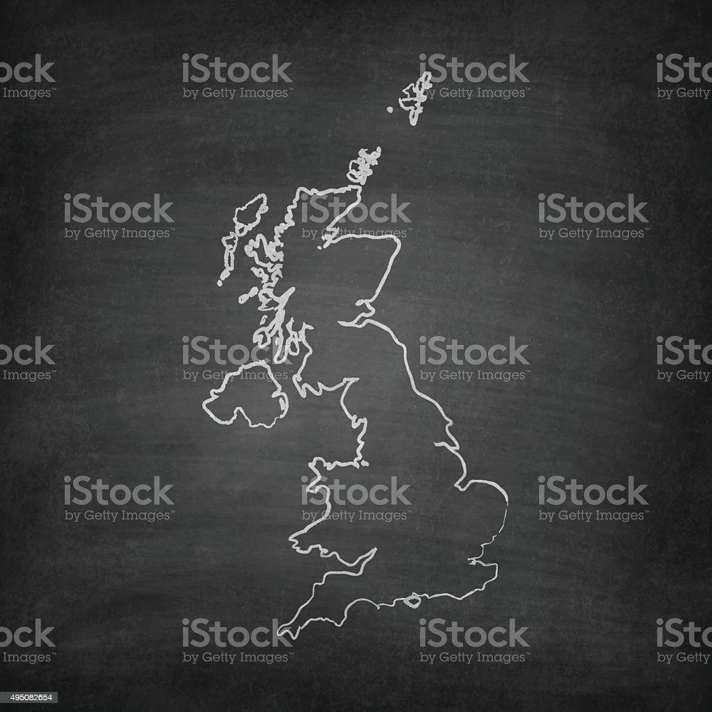 United Kingdom Map on Blackboard - Chalkboard vector art illustration