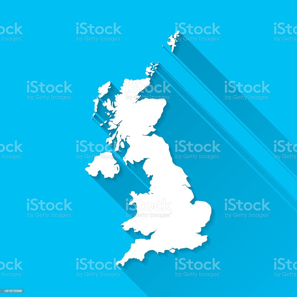 United Kingdom Map on Blue Background, Long Shadow, Flat Design vector art illustration