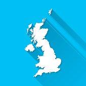 United Kingdom Map on Blue Background, Long Shadow, Flat Design