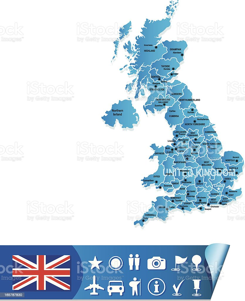 United Kingdom map royalty-free stock vector art
