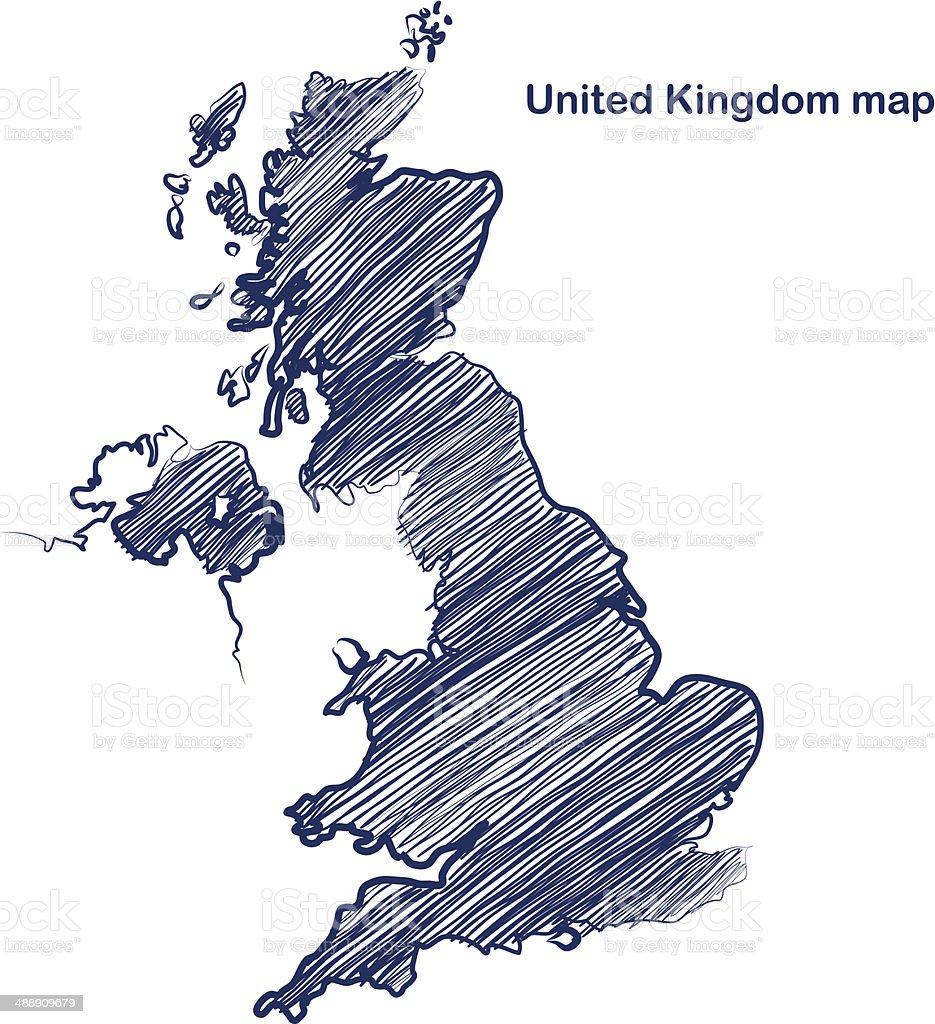 United Kingdom map vector art illustration