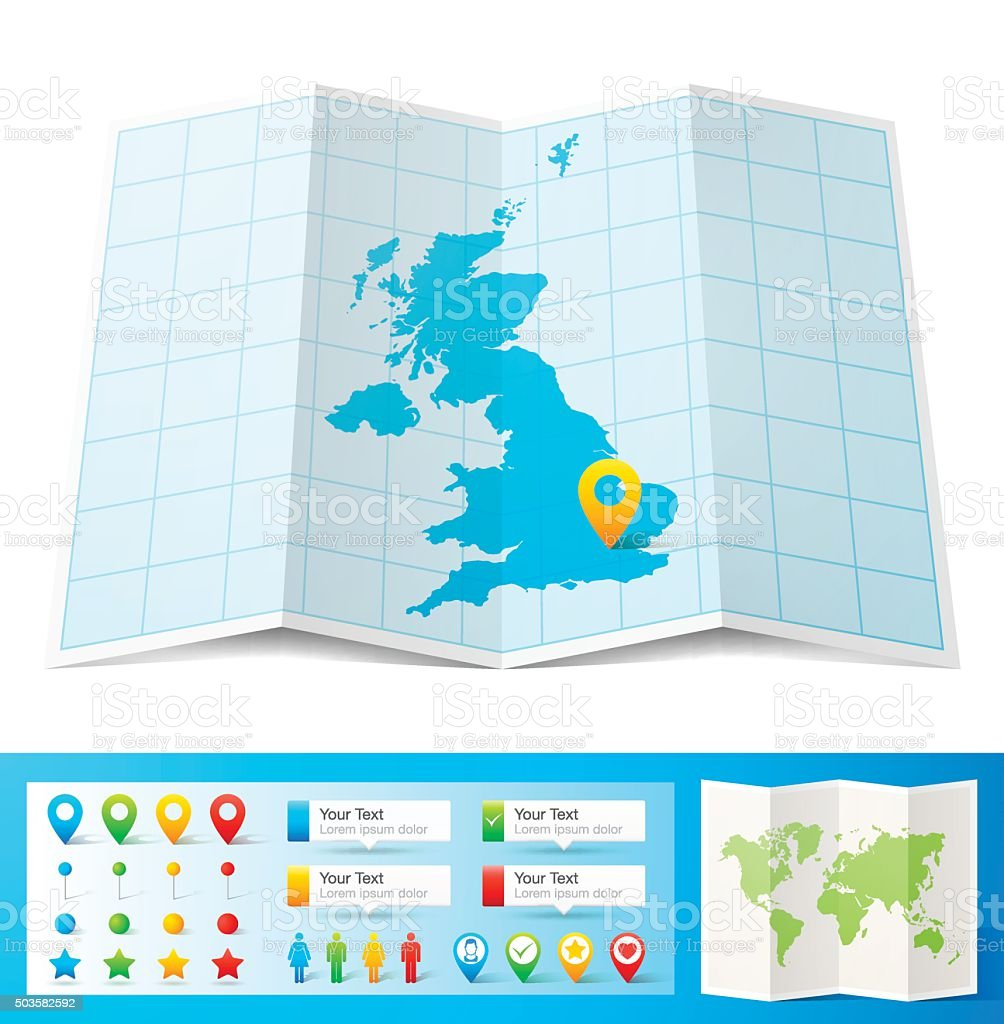 United Kingdom Map with location pins isolated on white Background vector art illustration