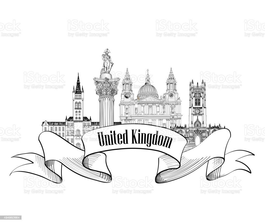 United Kingdom of Great Britain label. vector art illustration