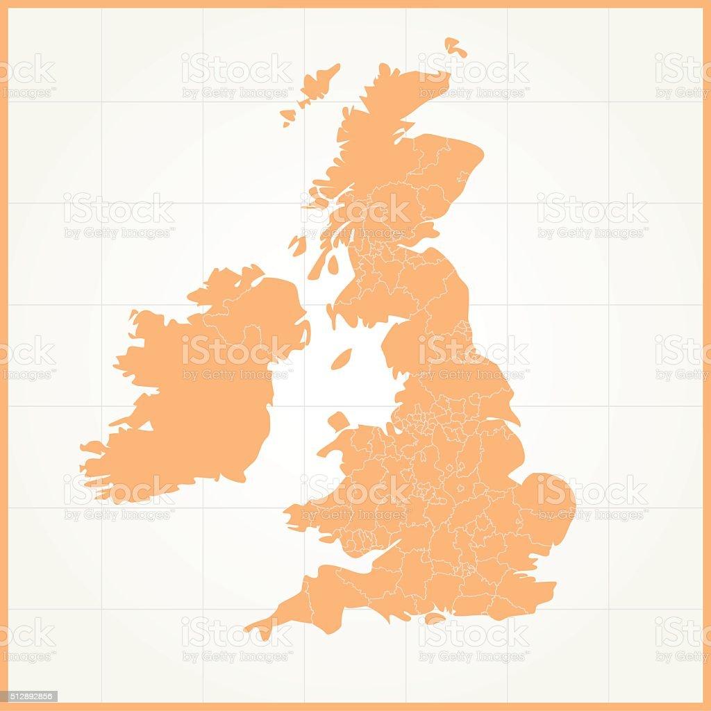 United Kingdom orange map on grid background vector art illustration