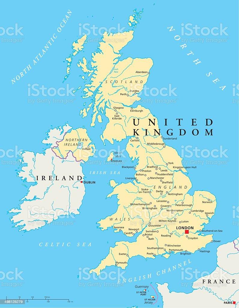 United Kingdom Political Map vector art illustration