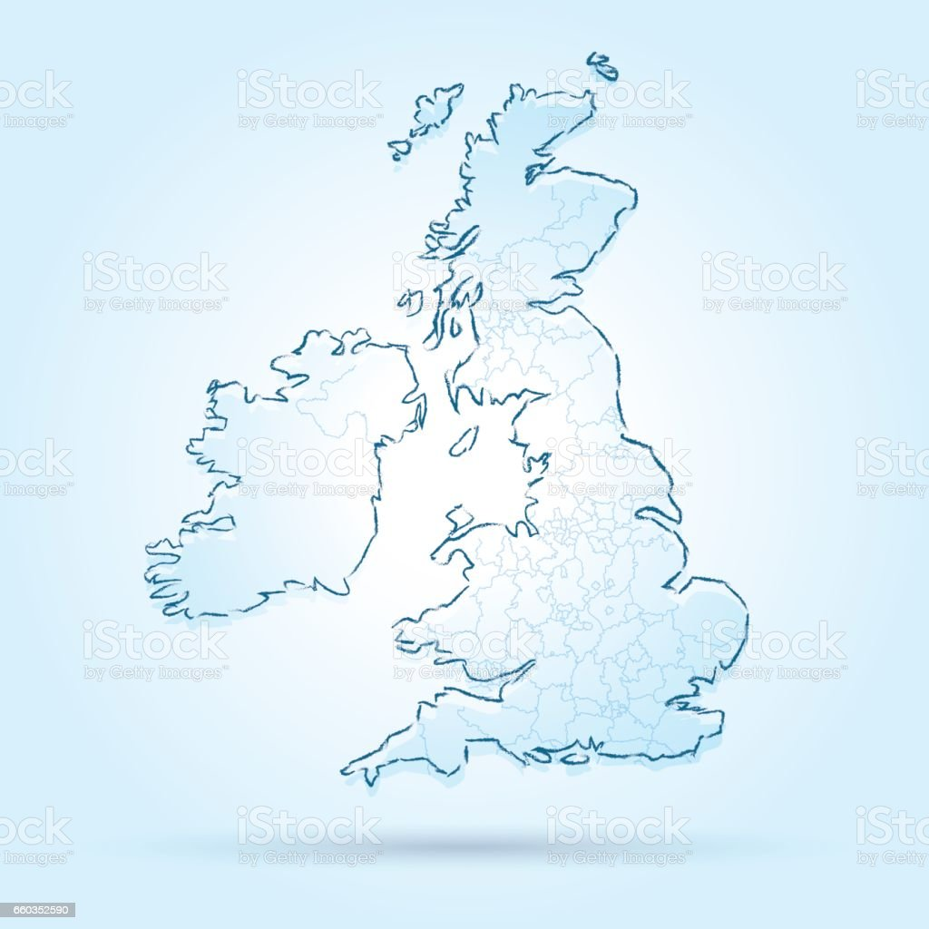 United Kingdom scribbled map on bright icy background vector art illustration
