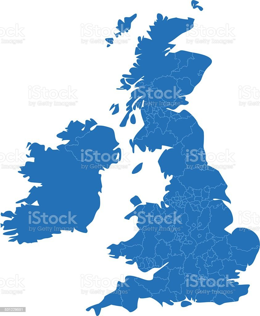 United Kingdom simple blue map on white background vector art illustration