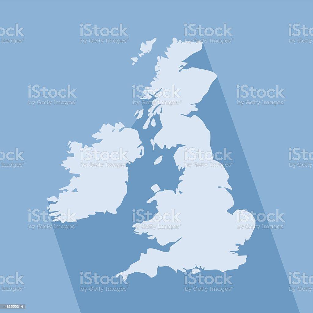 United Kingdom simple map on blue background vector art illustration
