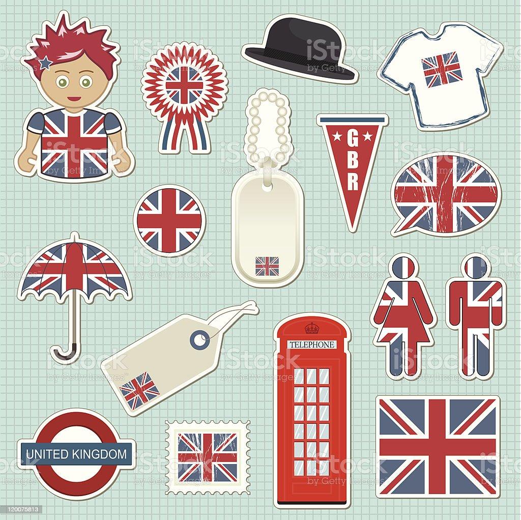 united kingdom stickers vector art illustration