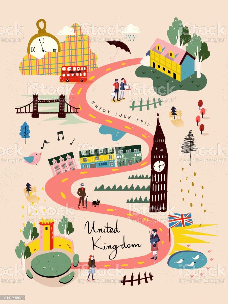 United Kingdom travel map vector art illustration