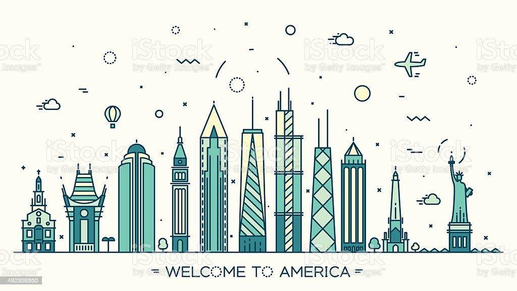 United States America skyline vector linear style vector art illustration