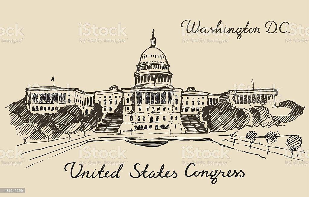 United States Capital Hill Capitol Washington DC vector art illustration