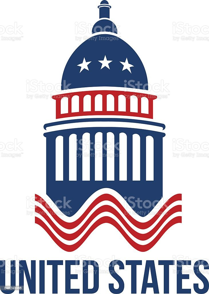 United States Capitol building in red white and blue illustration vector art illustration