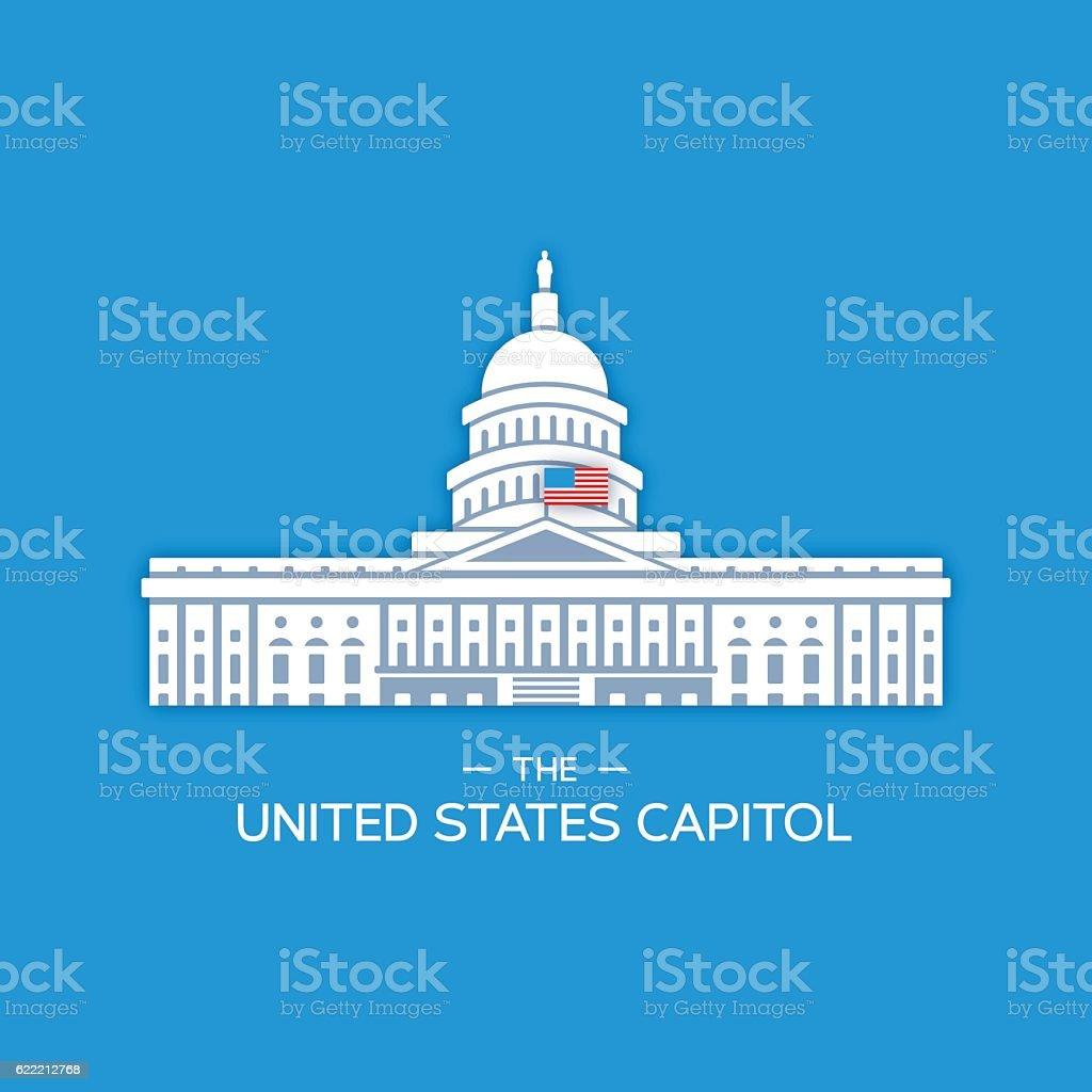 United States Capitol Building vector art illustration