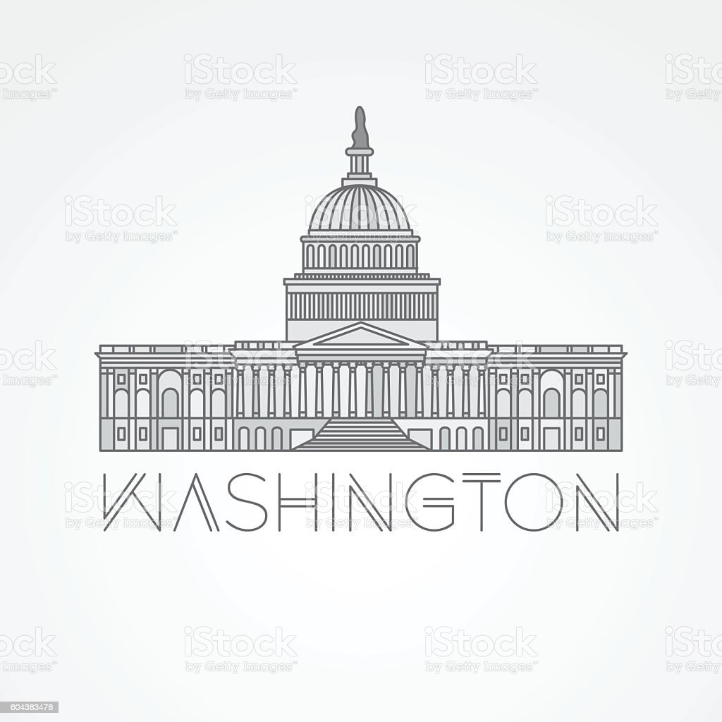 United States Capitol - detailed linear icon, Washington DC. vector art illustration