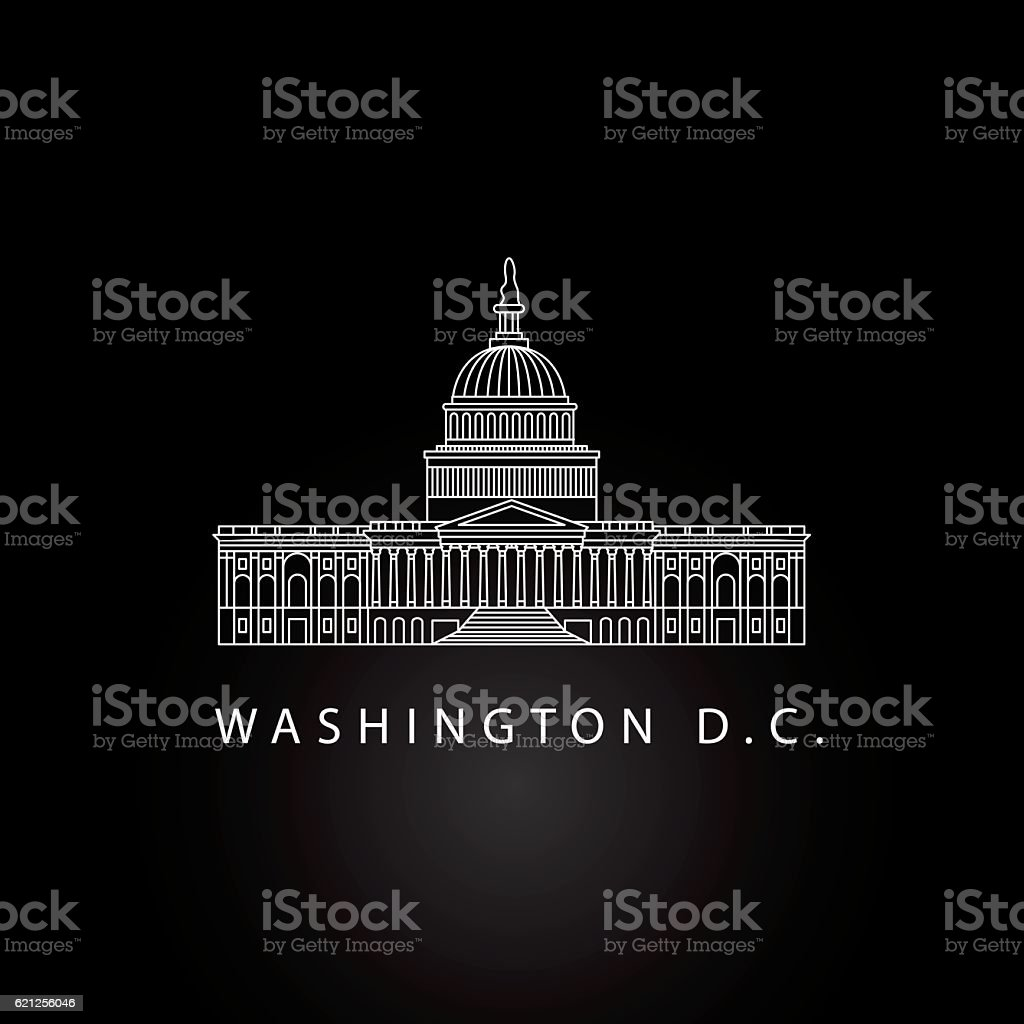 United States Capitol - detailed linear icon, Washington DC. vector art illustration