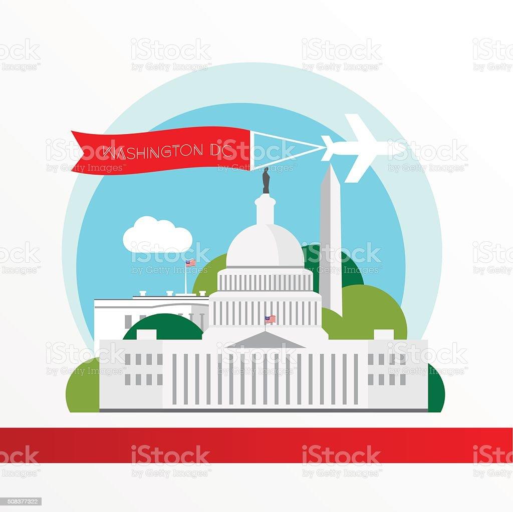 United States Capitol - The symbol of US, Washington DC. vector art illustration