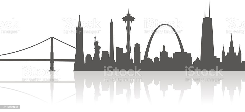 United States City Landmarks Profile vector art illustration